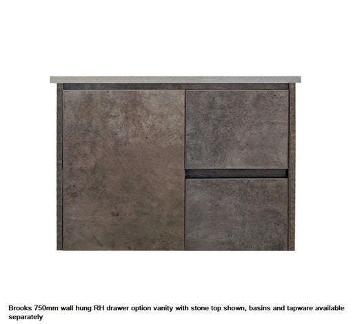 Brooks Wall Hung 750mm RHD Vanity Grey - Bathroom Warehouse