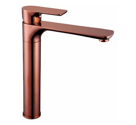 Sleek Sink Mixer Tall Rose Gold - Bathroom Warehouse