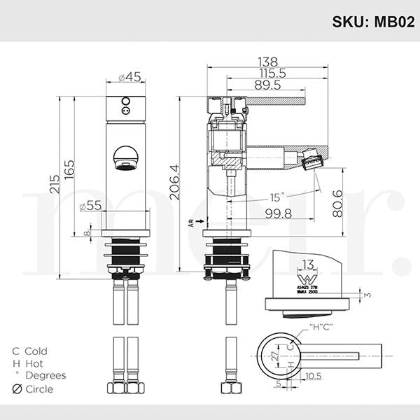 Meir Round Champagne Basin Mixer Dimensions | Bathroom Warehouse