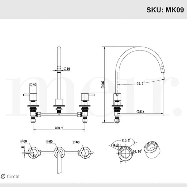 Meir 3 Piece Kitchen Sink Set - Chrome - Line Drawings | Bathroom Warehouse