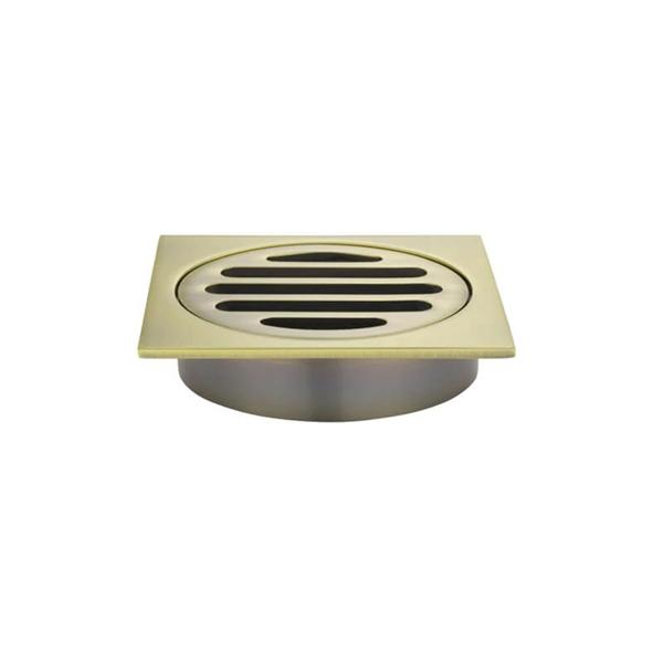 Meir Square Floor Grate Shower Drain 80mm Outlet - Gold | Bathroom Warehouse