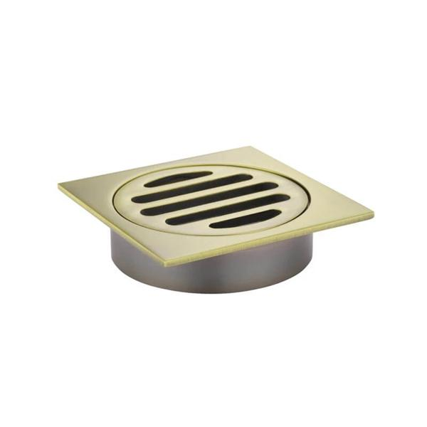 Meir Square Floor Grate Shower Drain 80mm Outlet - Gold shower drain | Bathroom Warehouse