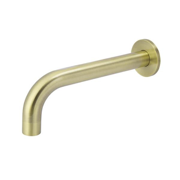 Meir Tiger Bronze Round Curved Wall Spout 200mm | Bathroom Warehouse