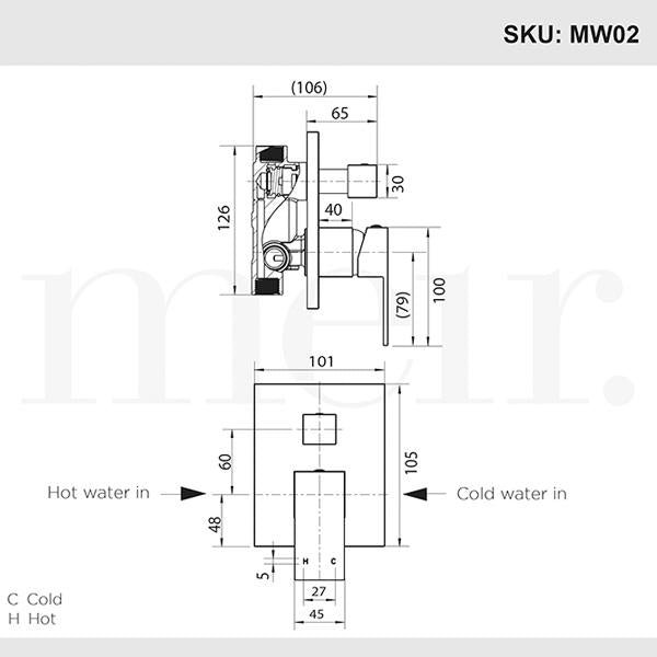 Meir Square Matte Black Wall Mixer with Diverter Dimensions | Bathroom Warehouse