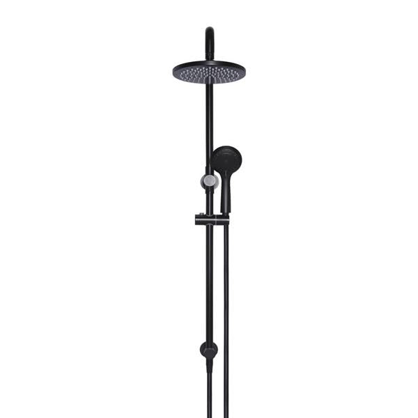 Meir Round 2-in-1 Matte Black Shower Rail Set | Bathroom Warehouse