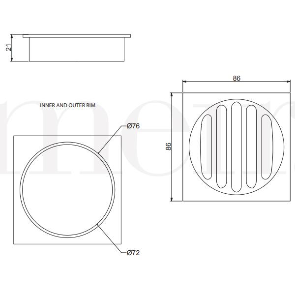 Technical Drawing - Meir Square Floor Grate Shower Drain 80mm Outlet - Gold | Bathroom Warehouse