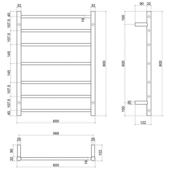 Thermogroup 7 Bar Thermorail White Satin Heated Towel Ladder Technical Drawing - Bathroom Warehouse