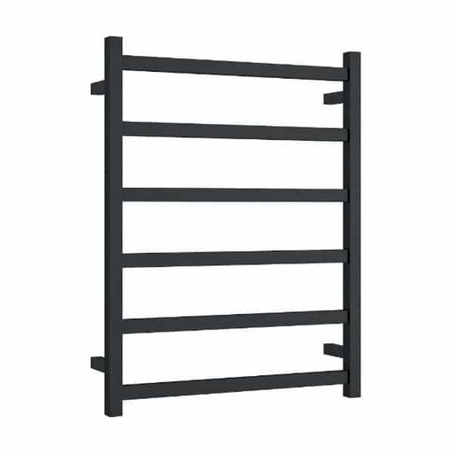 Thermogroup 6 Bar Thermorail Matte Black Straight Square Heated Towel Ladder at Bathroom Warehouse