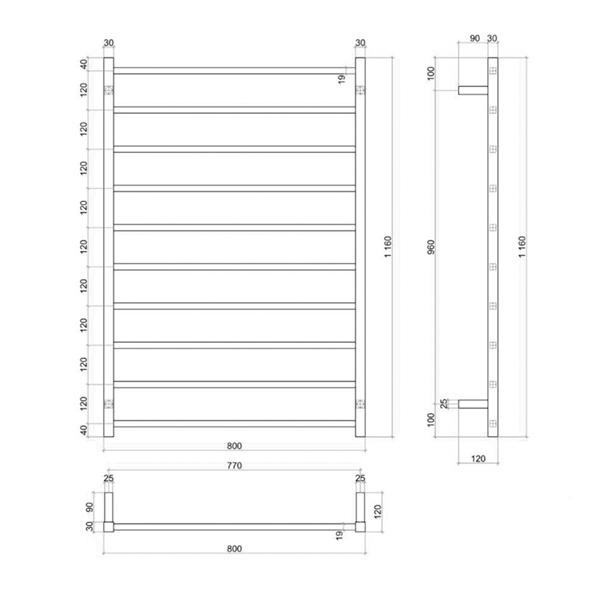 Thermogroup Wide 10 Bar Thermorail Matte Black Straight Square Heated Towel Ladder Technical Drawing - Bathroom Warehouse