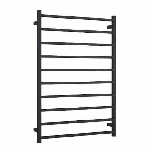 Thermogroup Wide 10 Bar Thermorail Matte Black Straight Square Heated Towel Ladder at Bathroom Warehouse