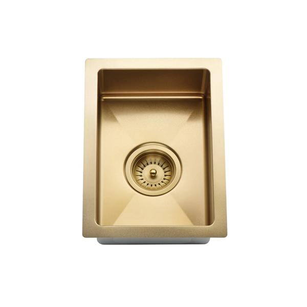 Meir Kitchen Mini Sink Single Bowl 322mm x 222mm - Brushed Bronze Gold - small kitchen sinks | Bathroom Warehouse