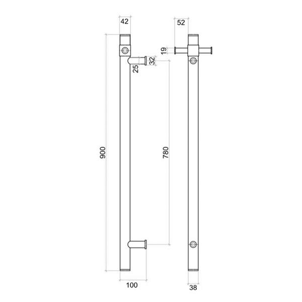 Thermogroup Straight Round Vertical Single Bar Heated Towel Rail Technical Drawing - Bathroom Warehouse