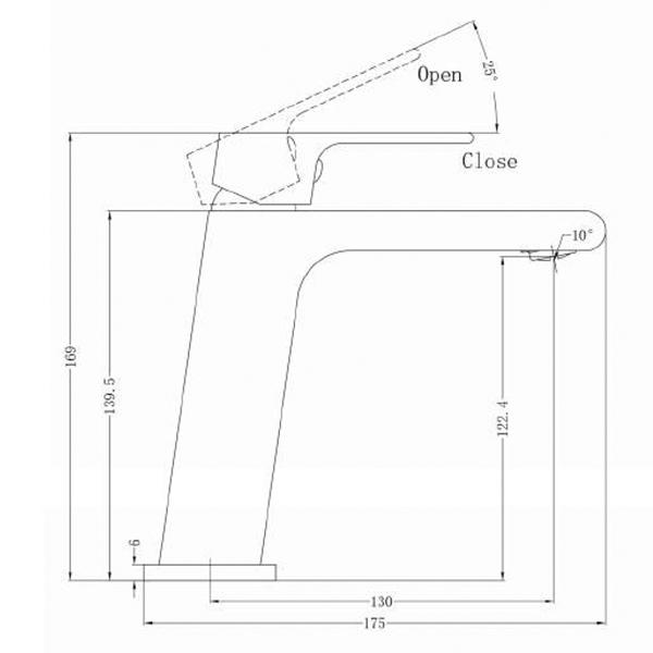 Technical Drawing - Nero Vitra Basin Mixer | Bathroom Warehouse