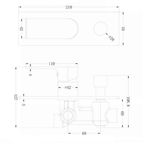 Technical Drawing - Nero Vitra Shower Mixer with Diverter - Brushed Nickel | Bathroom Warehouse
