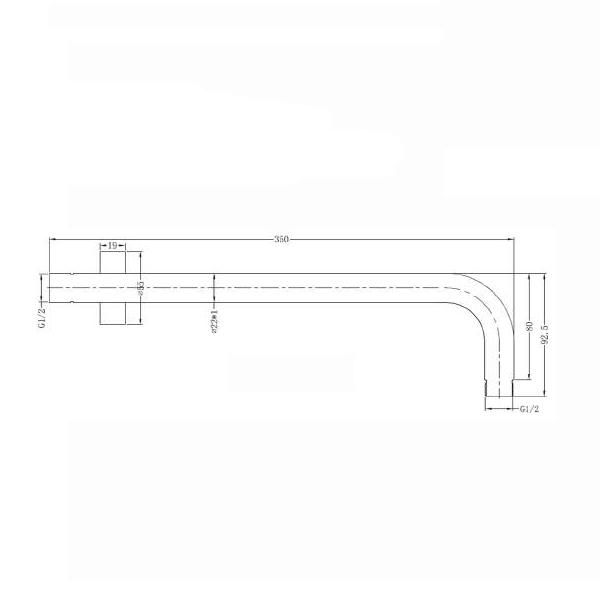 Technical Drawing - Nero Round Wall Shower Arm 350mm | Bathroom Warehouse
