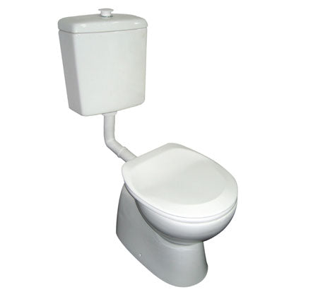 Bella Care Toilet With White Raised Button & White Seat - Bathroom Warehouse