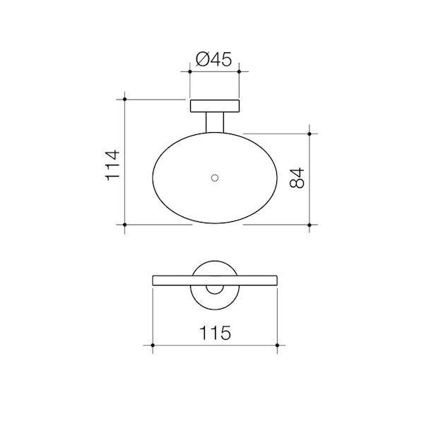 Caroma Cosmo Metal Soap Holder Technical Drawing | Bathroom Warehouse
