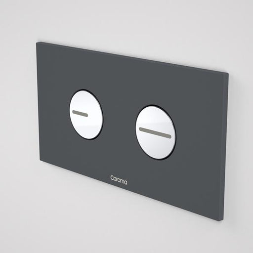 Caroma Invisi Series II Round Dual Flush Plate & Buttons - Dark Grey by Caroma | Bathroom Warehouse