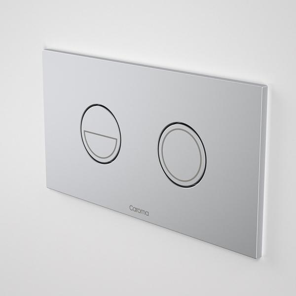 Caroma Invisi Series II Round Dual Flush Metal Plate & Buttons Neutral by Caroma | Bathroom Warehouse