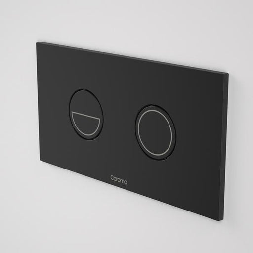 Caroma Invisi Series II Round Dual Flush Metal Plate & Buttons Metallic - Black by Caroma | Bathroom Warehouse