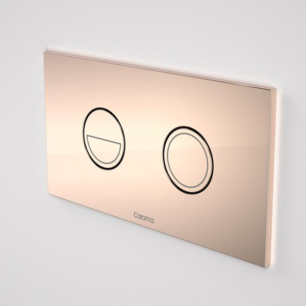 Caroma Invisi Series II Round Dual Flush Metal Plate & Buttons Metallic - Bronze by Caroma | Bathroom Warehouse