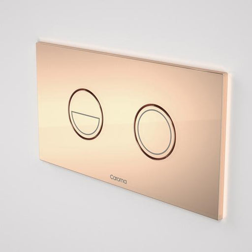 Caroma Invisi Series II Round Dual Flush Metal Plate & Buttons Metallic - Copper by Caroma | Bathroom Warehouse