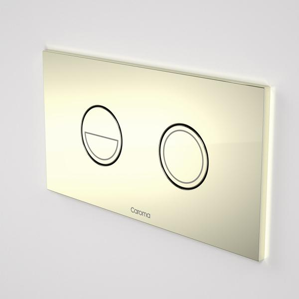 Caroma Invisi Series II Round Dual Flush Metal Plate & Buttons Metallic - Gold by Caroma | Bathroom Warehouse