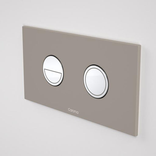 Caroma Invisi Series II Round Dual Flush Metal Plate & Buttons Neutral - Mid Grey by Caroma | Bathroom Warehouse