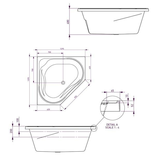Decina Angelique Contour Spa Bath with Jets line drawing 1295 | Bathroom Warehouse