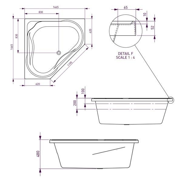 Decina Angelique Contour Spa Bath with Jets line drawing 1465 | Bathroom Warehouse