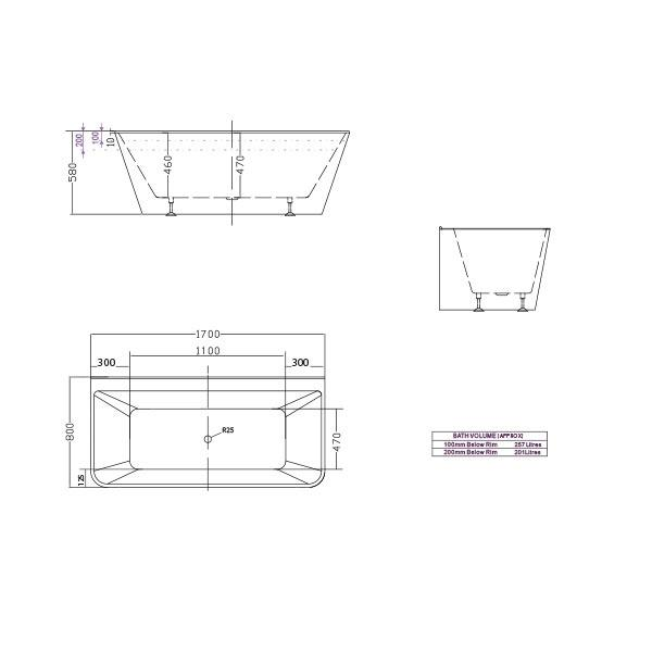 Decina Aria Back-To-Wall Freestanding Bath line drawing dimensions 1700 | Bathroom Warehouse