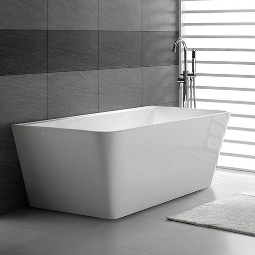 Decina Aria Back-To-Wall Freestanding Bath  black tiling grey floors | Bathroom Warehouse