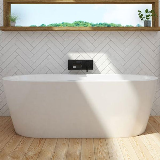 Decina Cool Freestanding Bath with white tiling and black wall mixer | Bathroom Warehouse