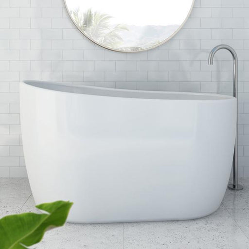 Decina Cosmo 1300mm Freestanding Bath in white bathroom. Japanese soaker baths by Decina | Bathroom Warehouse