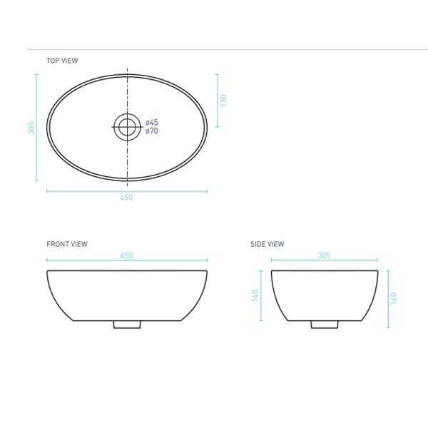 Technical Drawing - Decina Elinea Luxe Oval Counter Top Basin 450mm | Bathroom Warehouse