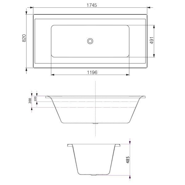 Decina Martino Contour Spa Bath 1745 line drawings and dimensions | Bathroom Warehouse