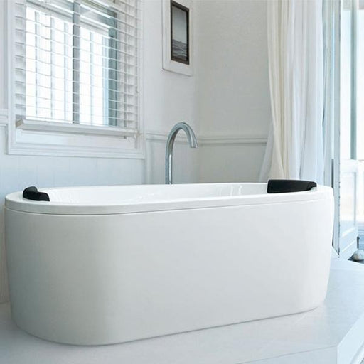 Decina Mintori Freestanding Bath with black headrest - white bathroom | Bathroom Warehouse