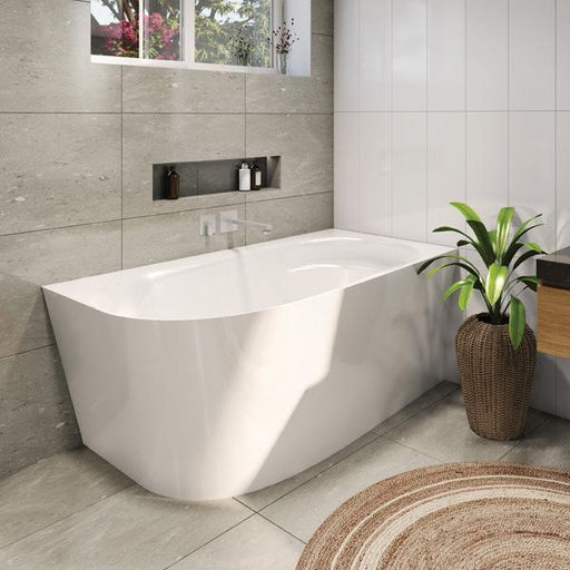 Decina Natalia 1500 Back-To-Wall Corner Freestanding Bath online | Bathroom Warehouse
