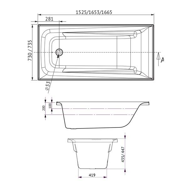 specs - line drawing and dimensions 1525 1653 1665 | Bathroom Warehouse