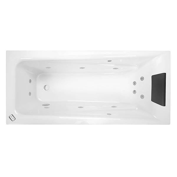 Decina Novara Contour Spa Bath with black headrest and jets | Bathroom Warehouse