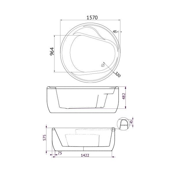 Technical Drawing - Decina Orion Circle Freestanding Bath 1570| Bathroom Warehouse
