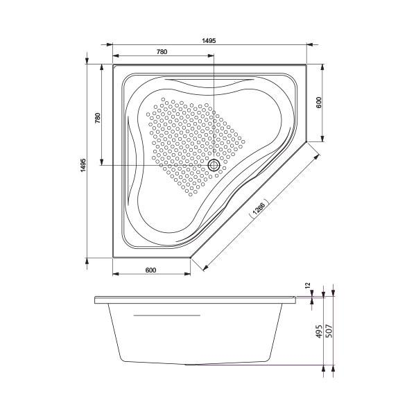 Decina Renee Santai Spa Bath line drawing | Bathroom Warehouse
