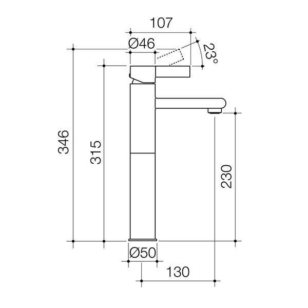 Dorf Enigma Tower Basin Mixer specs - line drawing and dimensions | Bathroom Warehouse
