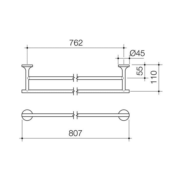 Dorf Kip Double Towel Rail Technical Drawing | Bathroom Warehouse