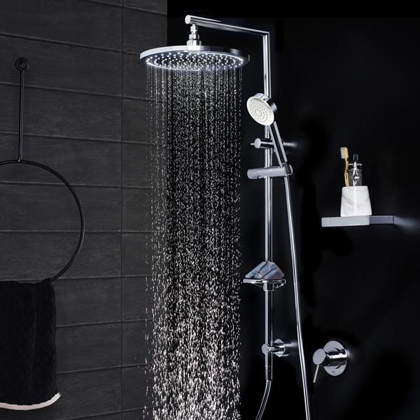 Dorf Luminous LED Round Rail Shower With Overhead Featured in a Black Bathroom With LED Lights Working | Bathroom Warehouse