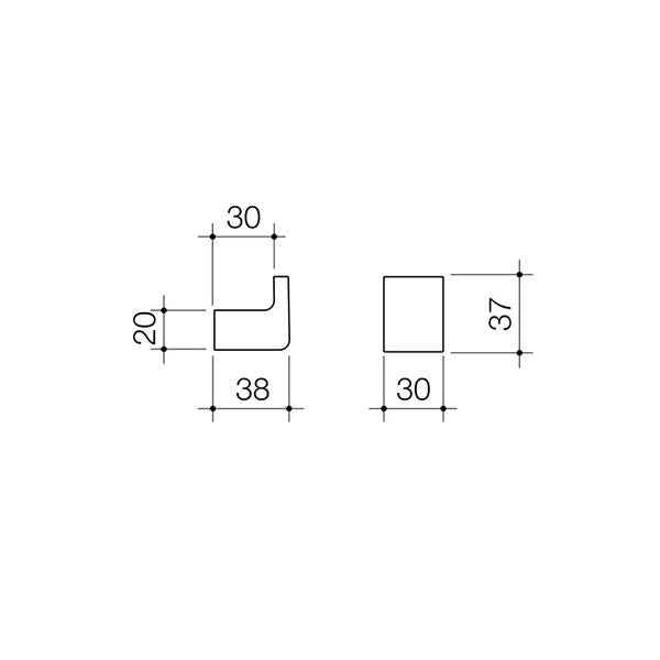 Dorf Motif Robe Hook Technical Drawing | Bathroom Warehouse