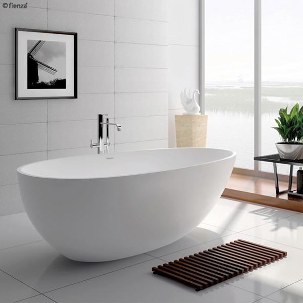 Fienza Bahama Matte White Stone Freestanding Bath lifestyle image | Bathroom Warehouse