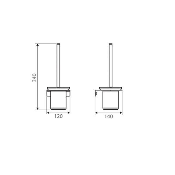 Fienza Lincoln Mixed Finish Toilet Brush & Holder Technical Drawing | Bathroom Warehouse