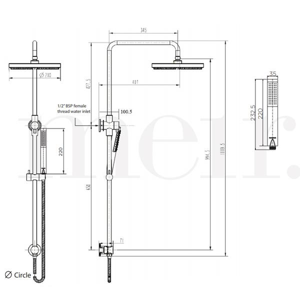 Meir Round Combination Shower Rail 200mm Rose & Hand Shower Technical Drawing | Bathroom Warehouse
