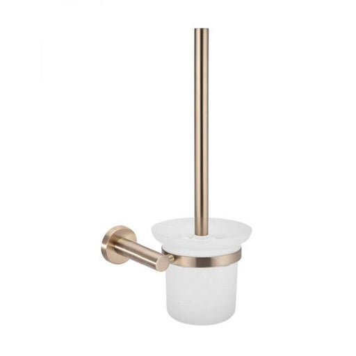 Meir Round Champagne Toilet Brush and Holder | Bathroom Warehouse